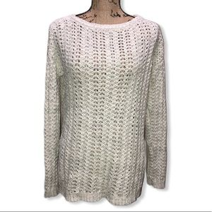 {LOFT} Cream Woven Knit Sweater